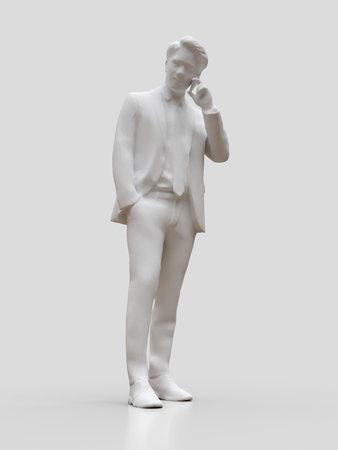 Plastic figure businessmen talking on the phone. 3d rendering