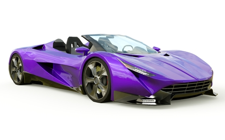 Paarse conceptuele sportcabriolet voor het rijden door de stad en racebaan op een witte achtergrond. 3D-rendering Stockfoto