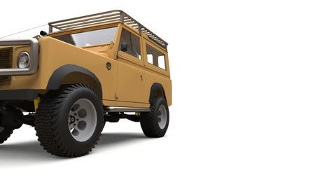 Beige old small SUV tuned for difficult routes and expeditions. 3d rendering