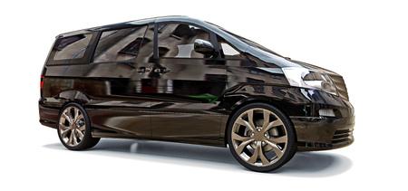 Black small minivan for transportation of people. Three-dimensional illustration on a glossy gray background. 3d rendering Reklamní fotografie