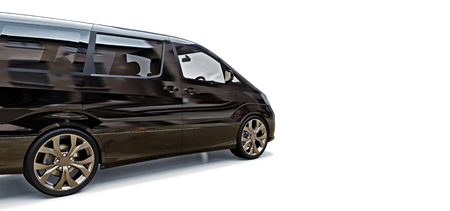 Black small minivan for transportation of people. Three-dimensional illustration on a glossy gray background. 3d rendering