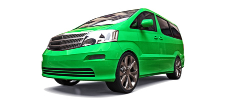 Green small minivan for transportation of people. Three-dimensional illustration on a white background. 3d rendering. 写真素材