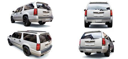 Set big white premium SUV on a white background. 3d rendering Stock Photo