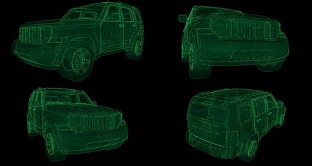 Set transparent SUV with simple straight lines of the body. 3d rendering.