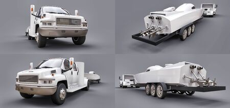 Set white truck with a trailer for transporting a racing boat on a grey background. 3d rendering