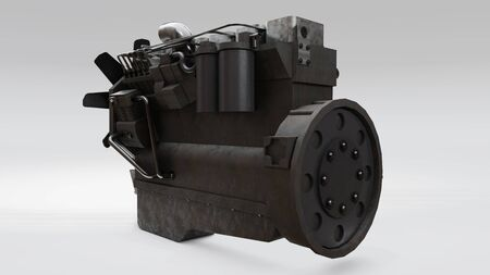 A big diesel engine with the truck depicted. 3d rendering