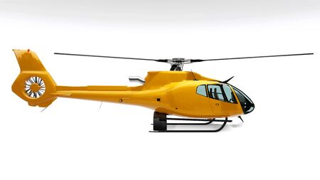 Yellow helicopter isolated on the white background. 3d rendering