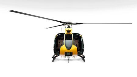Helicóptero amarillo aislado sobre fondo blanco. Representación 3d