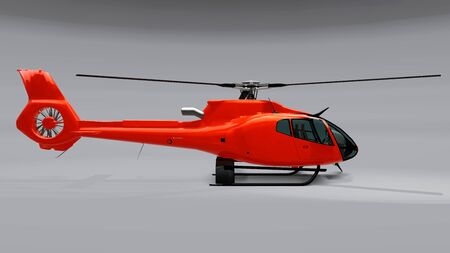 Red helicopter isolated on the gray background. 3d illustration Stock Photo