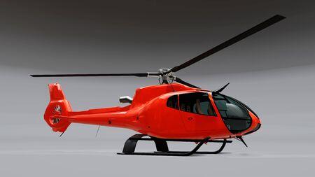 Roter Hubschrauber auf dem grauen Hintergrund isoliert. 3D-Darstellung Standard-Bild
