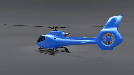 Blue helicopter isolated on the gray background. 3d illustration