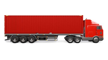 A large retro red truck with a sleeping part and an aerodynamic extension carries a trailer with a sea container. 3d rendering Imagens