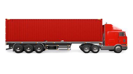 Un gran camión rojo retro con una parte para dormir y una extensión aerodinámica lleva un remolque con un contenedor marítimo. Representación 3d Foto de archivo