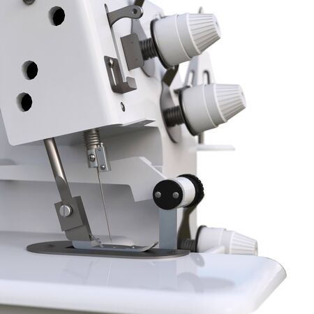 Overlock on a white background. Equipment for sewing production. Sewing clothes and textiles. 3d illustration