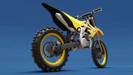 Yellow sport bike for cross-country on a blue background. Racing Sportbike. Modern Supercross Motocross Dirt Bike. 3D Rendering