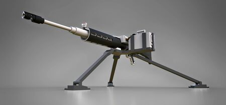 Large machine gun on a tripod with a full cassette ammunition on a grey background. Stockfoto