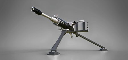 Large machine gun on a tripod with a full cassette ammunition on a grey background. 写真素材