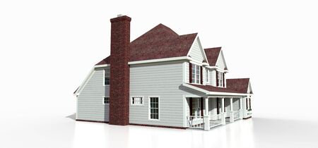 Render of a classic American country house. 3d illustration Standard-Bild - 128799401
