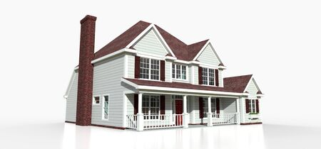 Render of a classic American country house. 3d illustration Standard-Bild - 128799404