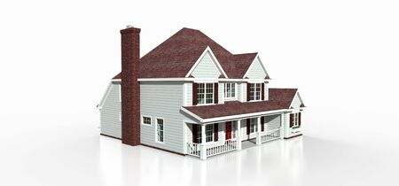 Render of a classic American country house. 3d illustration Standard-Bild - 128799403