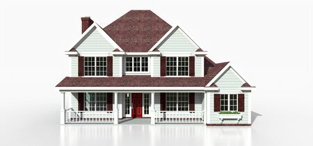 Render of a classic American country house. 3d illustration Standard-Bild - 128799402