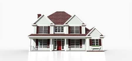 Render of a classic American country house. 3d illustration Standard-Bild - 128799405