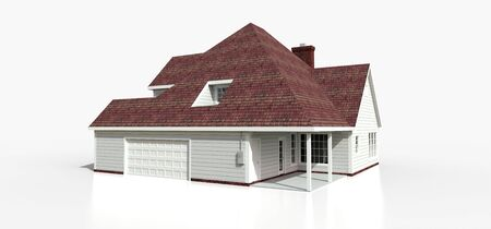 Render of a classic American country house. 3d illustration Standard-Bild - 128799434