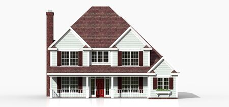 Render of a classic American country house. 3d illustration Standard-Bild - 128799439