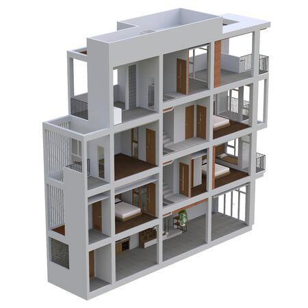 Sectional view of a multilevel apartment. 3d illustration Standard-Bild - 128799447
