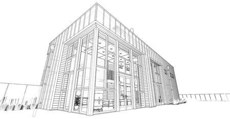 Modern house with garden and garage. 3d rendering Standard-Bild - 128799460