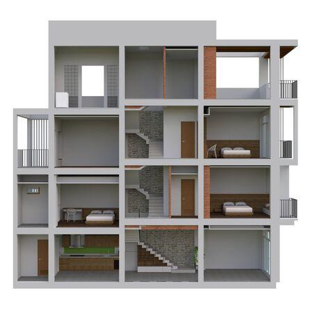 Sectional view of a multilevel apartment. 3d illustration Standard-Bild - 128799456