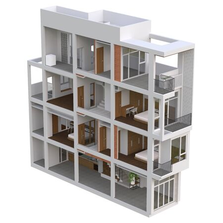 Sectional view of a multilevel apartment. 3d illustration Standard-Bild - 128799451