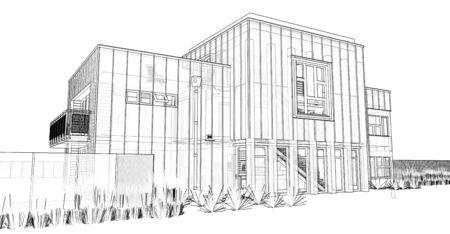 Modern house with garden and garage. 3d rendering Standard-Bild - 128799462