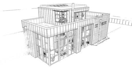 Modern house with garden and garage. 3d rendering Standard-Bild - 128799466