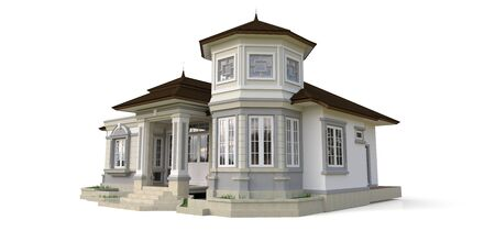 Old house in Victorian style. Illustration on white background. Species from different sides. 3d rendering Standard-Bild - 128799615