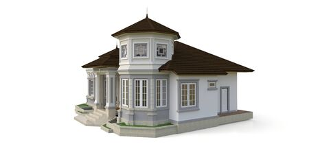 Old house in Victorian style. Illustration on white background. Species from different sides. 3d rendering Standard-Bild - 128799621