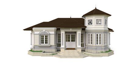 Old house in Victorian style. Illustration on white background. Species from different sides. 3d rendering Standard-Bild - 128799632