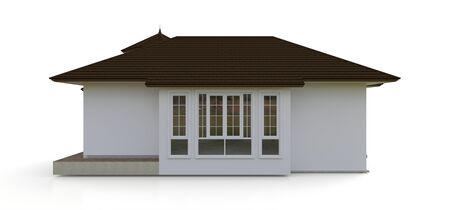 Old house in Victorian style. Illustration on white background. Species from different sides. 3d rendering Standard-Bild - 128799635