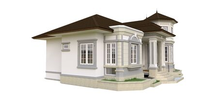 Old house in Victorian style. Illustration on white background. Species from different sides. 3d rendering Standard-Bild - 128799633