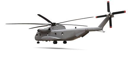 Militärtransport- oder Rettungshubschrauber auf weißem Hintergrund. 3D-Darstellung
