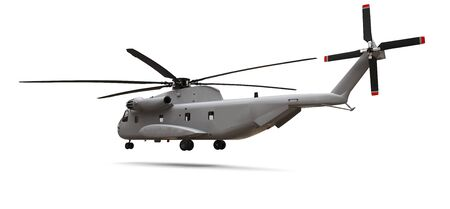 Military transport or rescue helicopter on white background. 3d illustration