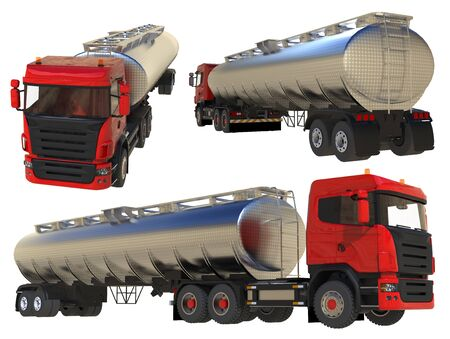 Large red truck tanker with a polished metal trailer. Views from all sides. A set of images. 3d illustration Imagens