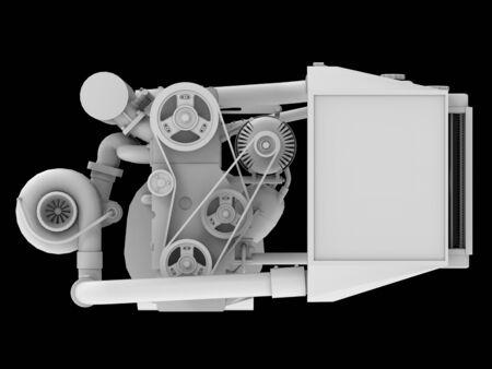 Modern Turbo Car Engine Isolated on Black Background. 3d rendering Foto de archivo - 129148273