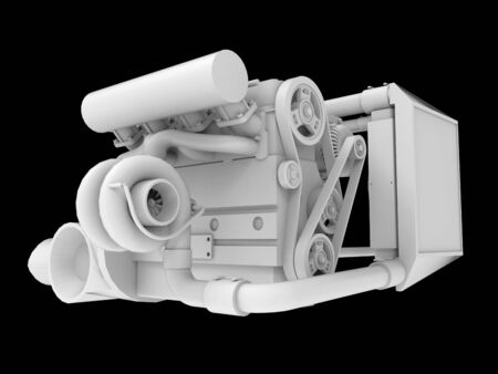 Modern Turbo Car Engine Isolated on Black Background. 3d rendering Foto de archivo - 129146894