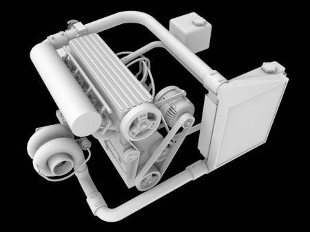 Modern Turbo Car Engine Isolated on Black Background. 3d rendering Foto de archivo - 129148313
