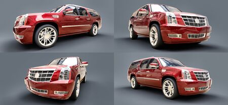 Set big red premium SUV on a gray background. 3d rendering
