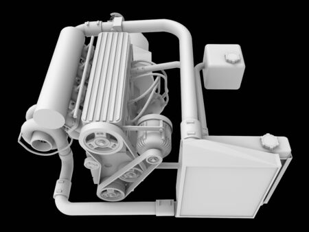 Modern Turbo Car Engine Isolated on Black Background. 3d rendering Foto de archivo - 129149533