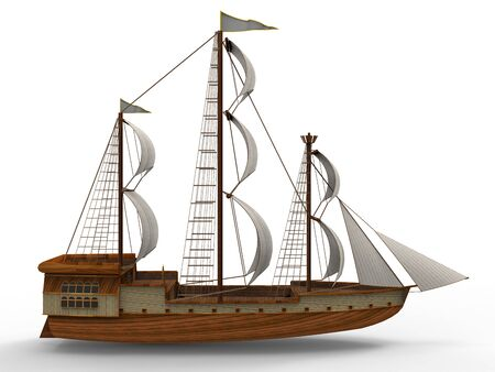 Three-dimensional raster illustration of an ancient sailing ship on a white background with soft shadows. 3d rendering