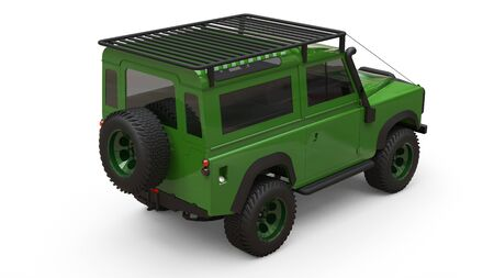Green old small SUV tuned for difficult routes and expeditions. 3d rendering Foto de archivo - 129163676