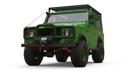 Green old small SUV tuned for difficult routes and expeditions. 3d rendering Foto de archivo - 129163677